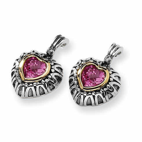 Sterling Silver w/14ky 7mm Created Pink Sapphire Heart Post Earrings by Town and Country