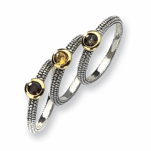 Sterling Silver with 14k Gold Accents Gemstone 3 Stackable Rings