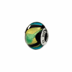 Sterling Silver Yellow/Black/Green/Blue Italian Murano Bead