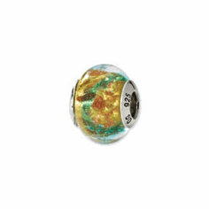 Sterling Silver Yellow/Blue/Gold Italian Murano Bead