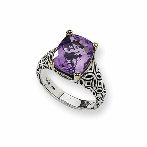 Town and Country Sterling Silver w/14ky Antiqued 12x10mm Amethyst & Diamond Ring