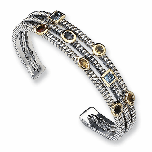 Town and Country Sterling Silver with 14k Gold Accents and Gemstones Bangle