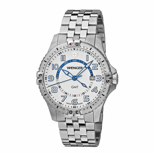 Wenger® Men's Squadron GMT 77079  White Dial Stainless Steel Bracelet