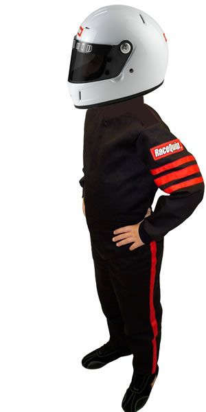 RaceQuip SFI-1 Pro-1 Single Layer Youth Racing Suit Black w// Red Stripes