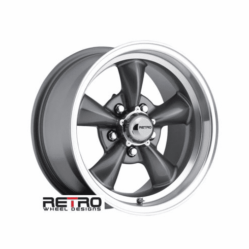 "15x8"" 930-G Retro Wheel Designs Charcoal Gray wheels rims 5x4.75"" Chevy lug-pattern 4.50"" backspace"