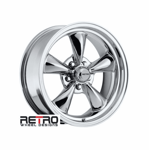 "17x7"" 930-C Retro Wheel Designs Chrome wheels rims 5x4.75"" Chevy lug-pattern 4.00"" backspace"