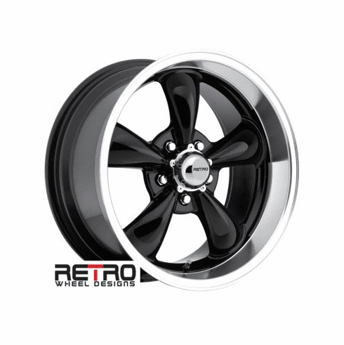 "17x9"" 930-B Retro Wheel Designs Black wheels rims 5x4.75"" Chevy lug-pattern 5.00"" backspace"