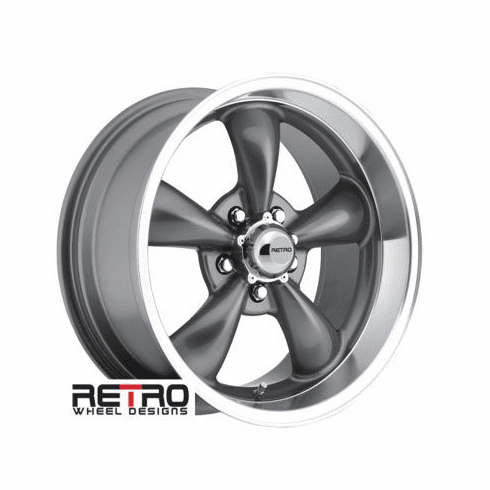 "17x9"" 930-G Retro Wheel Designs Charcoal Gray wheels rims 5x4.75"" Chevy lug-pattern 5.00"" backspace"
