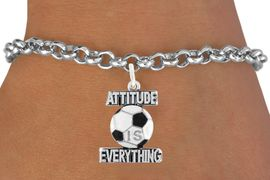 """<bR>                               EXCLUSIVELY OURS!!<BR>                        AN ALLAN ROBIN DESIGN!!<BR>                CLICK HERE TO SEE 1600+ EXCITING<BR>                   CHANGES THAT YOU CAN MAKE!<BR>                 LEAD,CADMIUM, & NICKEL FREE!!<BR>           W1049SB - """"ATTITUDE IS EVERYTHING""""<Br>SOCCER BALL BRACELET FROM $4.50 TO $8.35 &#169;2011"""