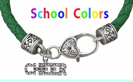 CHEERLEADER GENUINE GREEN LEATHER BRACELET WITH ANTIQUE <BR>CLASP WITH GENUINE CRYSTAL JUMPING CHEERLEADER<BR>NICKEL, LEAD, AND POISONOUS CADMIUM FREE<BR>IT IS WHAT YOU DO NOT SEE THAT MATTERS�<BR>W1410B35  $13.38 EACH �2020