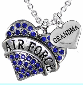 "<Br>         WHOLESALE AIR FORCE JEWELRY  <BR>                AN ALLAN ROBIN DESIGN!! <Br>          CADMIUM, LEAD & NICKEL FREE!!  <Br>W1477-1832N1 - ""AIR FORCE - GRANDMA"" HEART  <BR>  CHARMS ON LOBSTER CLASP CHAIN NECKLACE <BR>        FROM $8.50 TO $10.50 �2016"
