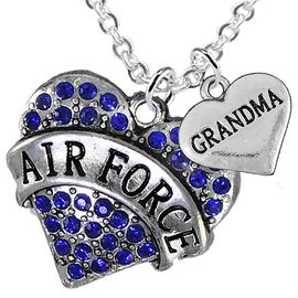 """<Br>         WHOLESALE AIR FORCE JEWELRY  <BR>                AN ALLAN ROBIN DESIGN!! <Br>          CADMIUM, LEAD & NICKEL FREE!!  <Br>W1477-1832N1 - """"AIR FORCE - GRANDMA"""" HEART  <BR>  CHARMS ON LOBSTER CLASP CHAIN NECKLACE <BR>        FROM $8.50 TO $10.50 �2016"""