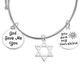 "<BR>W1922-1929-1920B9 -  "" God Gave Me You, <BR>      Star Of David, "" You Are My Sunshine ""<BR>   On A Adjuststable Miracle Wire Bracelet<BR>                            �2019 $12.68 Each"