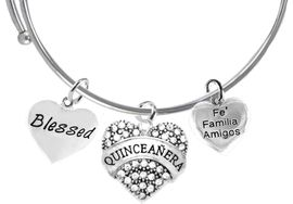 <BR><B>QUINCEAÑERA CRYSTAL HEART, BLESSED, FE FAMILIA AMIGOS, ADJUSTABLE</B><BR> BRACELET, MIRACLE WIRE EXPANDABLE BRACELET, HAS NO NICKEL, NO LEAD,<BR> NO POISONOUS CADMIUM , W272-1690-601B9 $12.38 EACH ©2020