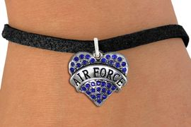 """<BR>  AIR FORCE JEWELRY WHOLESALE <bR>                EXCLUSIVELY OURS!! <Br>           AN ALLAN ROBIN DESIGN!! <BR>  CLICK HERE TO SEE 1000+ EXCITING <BR>        CHANGES THAT YOU CAN MAKE! <BR>     LEAD, NICKEL & CADMIUM FREE!! <BR>  W1477SB - SILVER TONE """"AIR FORCE"""" <BR> BLUE CRYSTAL HEART CHARM & BRACELET <BR>         FROM $5.40 TO $9.85 �2013"""