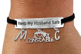 "<Br>            AN ALLAN ROBIN DESIGN!!<Br>       CADMIUM, LEAD & NICKEL FREE!! <BR>   SPECIAL ""KEEP MY HUSBAND SAFE"" <Br>W19787B - SILVER TONE AND BLACK <BR>SUEDE CHARM BRACELET WITH <BR> ""I LOVE MY CONSTABLE"" CHARM AND <BR> YOUR PERSONALIZED INITIALS ADDED <BR>        FROM $5.63 TO $12.50 �2012"