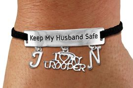 """<Br>            AN ALLAN ROBIN DESIGN!!<Br>       CADMIUM, LEAD & NICKEL FREE!! <BR>   SPECIAL """"KEEP MY HUSBAND SAFE"""" <Br>W19792B - SILVER TONE AND BLACK <BR>SUEDE CHARM BRACELET WITH <BR>   """"I LOVE MY TROOPER"""" CHARM AND <BR> YOUR PERSONALIZED INITIALS ADDED <BR>        FROM $5.63 TO $12.50 �2012"""