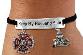 "<Br>            AN ALLAN ROBIN DESIGN!!<Br>       CADMIUM, LEAD & NICKEL FREE!! <BR>   SPECIAL ""KEEP MY HUSBAND SAFE"" <Br>  W19851B - SILVER TONE AND BLACK <BR>    SUEDE CHARM BRACELET WITH <BR>    FIRE FIGHTER THEMED CHARMS <BR>        FROM $6.19 TO $13.75 �2012"