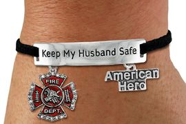 "<Br>            AN ALLAN ROBIN DESIGN!!<Br>       CADMIUM, LEAD & NICKEL FREE!! <BR>   SPECIAL ""KEEP MY HUSBAND SAFE"" <Br>  W19852B - SILVER TONE AND BLACK <BR>    SUEDE CHARM BRACELET WITH <BR>    FIRE FIGHTER THEMED CHARMS <BR>        FROM $5.63 TO $12.50 �2012"