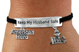 "<Br>            AN ALLAN ROBIN DESIGN!!<Br>       CADMIUM, LEAD & NICKEL FREE!! <BR>   SPECIAL ""KEEP MY HUSBAND SAFE"" <Br>  W19854B - SILVER TONE AND BLACK <BR>    SUEDE CHARM BRACELET WITH <BR>    FIRE FIGHTER THEMED CHARMS <BR>        FROM $4.16 TO $9.25 �2012"