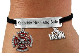 "<Br>            AN ALLAN ROBIN DESIGN!!<Br>       CADMIUM, LEAD & NICKEL FREE!! <BR>   SPECIAL ""KEEP MY HUSBAND SAFE"" <Br>  W19855B - SILVER TONE AND BLACK <BR>    SUEDE CHARM BRACELET WITH <BR>    FIRE FIGHTER THEMED CHARMS <BR>        FROM $5.63 TO $12.50 �2012"