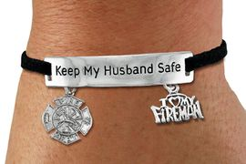 "<Br>            AN ALLAN ROBIN DESIGN!!<Br>       CADMIUM, LEAD & NICKEL FREE!! <BR>   SPECIAL ""KEEP MY HUSBAND SAFE"" <Br>  W19860B - SILVER TONE AND BLACK <BR>    SUEDE CHARM BRACELET WITH <BR>    FIRE FIGHTER THEMED CHARMS <BR>        FROM $4.16 TO $9.25 �2012"