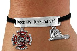 "<Br>            AN ALLAN ROBIN DESIGN!!<Br>       CADMIUM, LEAD & NICKEL FREE!! <BR>   SPECIAL ""KEEP MY HUSBAND SAFE"" <Br>  W19862B - SILVER TONE AND BLACK <BR>    SUEDE CHARM BRACELET WITH <BR>    FIRE FIGHTER THEMED CHARMS <BR>        FROM $6.19 TO $13.75 �2012"