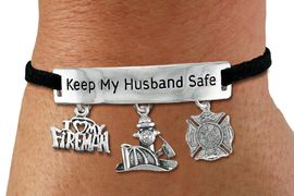 "<Br>            AN ALLAN ROBIN DESIGN!!<Br>       CADMIUM, LEAD & NICKEL FREE!! <BR>   SPECIAL ""KEEP MY HUSBAND SAFE"" <Br>  W19863B - SILVER TONE AND BLACK <BR>    SUEDE CHARM BRACELET WITH <BR>    FIRE FIGHTER THEMED CHARMS <BR>        FROM $5.63 TO $12.50 �2012"