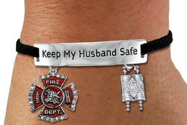 "<Br>            AN ALLAN ROBIN DESIGN!!<Br>       CADMIUM, LEAD & NICKEL FREE!! <BR>   SPECIAL ""KEEP MY HUSBAND SAFE"" <Br>  W19864B - SILVER TONE AND BLACK <BR>    SUEDE CHARM BRACELET WITH <BR>    FIRE FIGHTER THEMED CHARMS <BR>        FROM $5.85 TO $13.00 �2012"