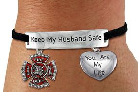 "<Br>            AN ALLAN ROBIN DESIGN!!<Br>       CADMIUM, LEAD & NICKEL FREE!! <BR>   SPECIAL ""KEEP MY HUSBAND SAFE"" <Br>  W19865B - SILVER TONE AND BLACK <BR>    SUEDE CHARM BRACELET WITH <BR>    FIRE FIGHTER THEMED CHARMS <BR>        FROM $5.85 TO $13.00 �2012"