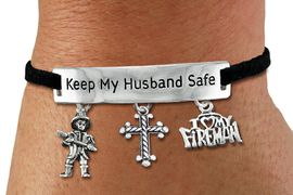 "<Br>            AN ALLAN ROBIN DESIGN!!<Br>       CADMIUM, LEAD & NICKEL FREE!! <BR>   SPECIAL ""KEEP MY HUSBAND SAFE"" <Br>  W19866B - SILVER TONE AND BLACK <BR>    SUEDE CHARM BRACELET WITH <BR>    FIRE FIGHTER THEMED CHARMS <BR>        FROM $5.06 TO $11.25 �2012"