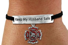 "<Br>            AN ALLAN ROBIN DESIGN!!<Br>       CADMIUM, LEAD & NICKEL FREE!! <BR>   SPECIAL ""KEEP MY HUSBAND SAFE"" <Br>  W21946B - SILVER TONE AND BLACK <BR>    SUEDE CHARM BRACELET WITH <BR>    FIRE FIGHTER THEMED CHARM <BR>        FROM $4.84 TO $10.75 �2012"