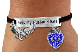 """<Br>            AN ALLAN ROBIN DESIGN!!<Br>       CADMIUM, LEAD & NICKEL FREE!! <BR>   SPECIAL """"KEEP MY HUSBAND SAFE"""" <Br>  W19871B - SILVER TONE AND BLACK <BR>    SUEDE CHARM BRACELET WITH <BR>    POLICEMAN THEMED CHARMS <BR>        FROM $7.31 TO $16.25 �2012"""