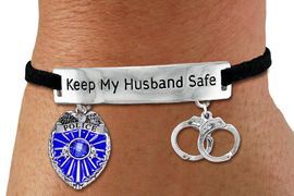"""<Br>            AN ALLAN ROBIN DESIGN!!<Br>       CADMIUM, LEAD & NICKEL FREE!! <BR>   SPECIAL """"KEEP MY HUSBAND SAFE"""" <Br>  W19873B - SILVER TONE AND BLACK <BR>    SUEDE CHARM BRACELET WITH <BR>    POLICEMAN THEMED CHARMS <BR>        FROM $5.85 TO $13.00 �2012"""