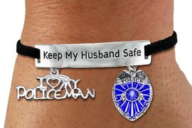 """<Br>            AN ALLAN ROBIN DESIGN!!<Br>       CADMIUM, LEAD & NICKEL FREE!! <BR>   SPECIAL """"KEEP MY HUSBAND SAFE"""" <Br>  W19874B - SILVER TONE AND BLACK <BR>    SUEDE CHARM BRACELET WITH <BR>    POLICEMAN THEMED CHARMS <BR>        FROM $6.19 TO $13.75 �2012"""