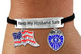 """<Br>            AN ALLAN ROBIN DESIGN!!<Br>       CADMIUM, LEAD & NICKEL FREE!! <BR>   SPECIAL """"KEEP MY HUSBAND SAFE"""" <Br>  W19875B - SILVER TONE AND BLACK <BR>SUEDE CHARM BRACELET WITH AMERICAN <BR> FLAG & POLICEMAN THEMED CHARMS <BR>        FROM $7.31 TO $16.25 �2012"""