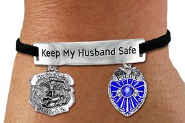 """<Br>            AN ALLAN ROBIN DESIGN!!<Br>       CADMIUM, LEAD & NICKEL FREE!! <BR>   SPECIAL """"KEEP MY HUSBAND SAFE"""" <Br>  W19876B - SILVER TONE AND BLACK <BR>SUEDE CHARM BRACELET WITH POLICE <BR>AND ST. MICHAEL PROTECT US CHARMS <BR>        FROM $5.85 TO $13.00 �2012"""