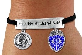 """<Br>            AN ALLAN ROBIN DESIGN!!<Br>       CADMIUM, LEAD & NICKEL FREE!! <BR>   SPECIAL """"KEEP MY HUSBAND SAFE"""" <Br>  W19877B - SILVER TONE AND BLACK <BR>SUEDE CHARM BRACELET WITH POLICE <BR>   AND ST. CHRISTOPHER CHARMS <BR>        FROM $5.85 TO $13.00 �2012"""