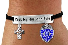 """<Br>            AN ALLAN ROBIN DESIGN!!<Br>       CADMIUM, LEAD & NICKEL FREE!! <BR>   SPECIAL """"KEEP MY HUSBAND SAFE"""" <Br>  W19878B - SILVER TONE AND BLACK <BR>SUEDE CHARM BRACELET WITH POLICE <BR>AND DETAILED CHRISTIAN CROSS CHARMS <BR>        FROM $5.85 TO $13.00 �2012"""