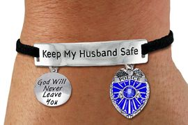 """<Br>            AN ALLAN ROBIN DESIGN!!<Br>       CADMIUM, LEAD & NICKEL FREE!! <BR>   SPECIAL """"KEEP MY HUSBAND SAFE"""" <Br>  W19879B - SILVER TONE AND BLACK <BR>SUEDE CHARM BRACELET WITH POLICE AND <BR>""""GOD WILL NEVER LEAVE YOU"""" CHARMS <BR>        FROM $5.85 TO $13.00 �2012"""