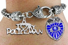 """<Br>            AN ALLAN ROBIN DESIGN!!<Br>       CADMIUM, LEAD & NICKEL FREE!! <Br>  W19880B - ANTIQUED SILVER TONE HEART <BR>CLASP CHARM BRACELET WITH POLICE <BR>AND """"I LOVE MY POLICEMAN"""" CHARMS <BR>        FROM $6.75 TO $15.00 �2012"""