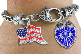 <Br>            AN ALLAN ROBIN DESIGN!!<Br>       CADMIUM, LEAD & NICKEL FREE!! <Br>  W19881B - ANTIQUED SILVER TONE HEART <BR>CLASP CHARM BRACELET WITH CRYSTAL <BR>POLICE  AND AMERICAN FLAG CHARMS <BR>        FROM $7.85 TO $17.50 �2012