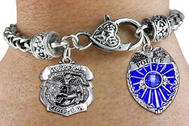 <Br>            AN ALLAN ROBIN DESIGN!!<Br>       CADMIUM, LEAD & NICKEL FREE!! <Br>  W19882B - ANTIQUED SILVER TONE HEART <BR>CLASP CHARM BRACELET WITH POLICE <BR>AND ST. MICHAEL PROTECT US CHARMS <BR>        FROM $6.41 TO $14.25 �2012