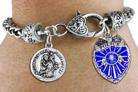<Br>            AN ALLAN ROBIN DESIGN!!<Br>       CADMIUM, LEAD & NICKEL FREE!! <Br>  W19883B - ANTIQUED SILVER TONE HEART <BR>CLASP CHARM BRACELET WITH CRYSTAL <BR>POLICE AND ST. CHRISTOPHER CHARMS <BR>        FROM $6.41 TO $14.25 �2012