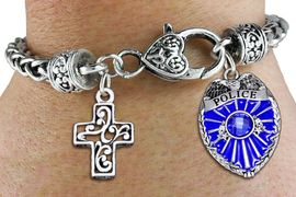 <Br>            AN ALLAN ROBIN DESIGN!!<Br>       CADMIUM, LEAD & NICKEL FREE!! <Br>  W19884B - ANTIQUED SILVER TONE HEART <BR>CLASP CHARM BRACELET WITH POLICE <BR>AND DETAILED CHRISTIAN CROSS CHARMS <BR>        FROM $6.41 TO $14.25 �2012