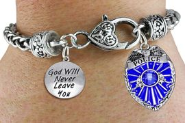 """<Br>            AN ALLAN ROBIN DESIGN!!<Br>       CADMIUM, LEAD & NICKEL FREE!! <Br>  W19885B - ANTIQUED SILVER TONE HEART <BR>CLASP CHARM BRACELET WITH POLICE AND <BR>""""GOD WILL NEVER LEAVE YOU"""" CHARMS <BR>        FROM $6.41 TO $14.25 �2012"""