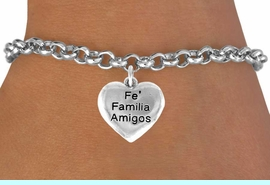 """<bR>         AN ALLAN ROBIN DESIGN<bR>              EXCLUSIVELY OURS!!<BR>CLICK HERE TO SEE 120+ EXCITING<BR>   CHANGES THAT YOU CAN MAKE!<BR>              LEAD & NICKEL FREE!!<BR>  W601SB - """"FE FAMILIA AMIGOS""""<Br>     & BRACELET AS LOW AS $4.50"""