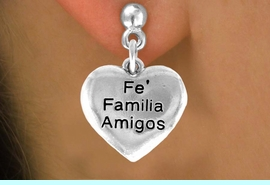 """<bR>         AN ALLAN ROBIN DESIGN<bR>               EXCLUSIVELY OURS!!<BR>CLICK HERE TO SEE 120+ EXCITING<BR>   CHANGES THAT YOU CAN MAKE!<BR>              LEAD & NICKEL FREE!!<BR>W601SE - """"FE FAMILIA AMIGOS"""" <Br>        EARRINGS FROM $4.50 TO $8.35"""