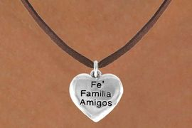 """<bR>         AN ALLAN ROBIN DESIGN<bR>               EXCLUSIVELY OURS!!<BR>CLICK HERE TO SEE 120+ EXCITING<BR>   CHANGES THAT YOU CAN MAKE!<BR>              LEAD & NICKEL FREE!!<BR>W601SN - """"FE FAMILIA AMIGOS"""" &<BR>        NECKLACE AS LOW AS $4.50"""