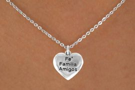 """<bR>           AN ALLAN ROBIN DESIGN<bR>               EXCLUSIVELY OURS!!<BR>CLICK HERE TO SEE 120+ EXCITING<BR>   CHANGES THAT YOU CAN MAKE!<BR>              LEAD & NICKEL FREE!!<BR>W601SN - """"FE FAMILIA AMIGOS"""" &<BR>        NECKLACE AS LOW AS $4.50 ©2015"""